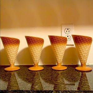 Vintage ice cream glass waffle cones,set of 4